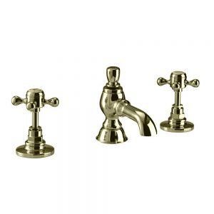 """Victorian 1/2"""" 3 hole extended basin mixer complete with pop up waste"""