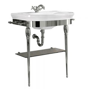 Carlyon Large Basin Stand with Glass Shelf and Chrome Legs