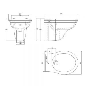 Carlyon Wall Hung Bidet (supplied without supporting brackets)