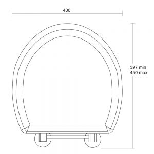Oval painted toilet seat with standard hinge