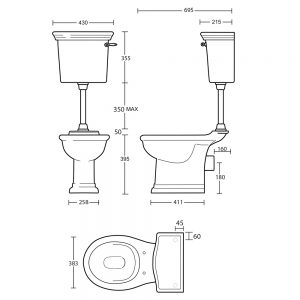 Firenze Low Level Cistern & Fittings with Brass Conversion Plate