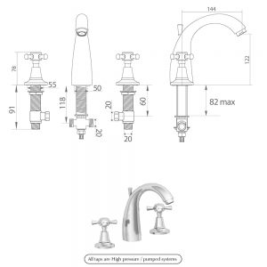 Cisne 3-hole basin mixer kit