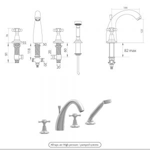 Cisne 4-hole bath filler kit