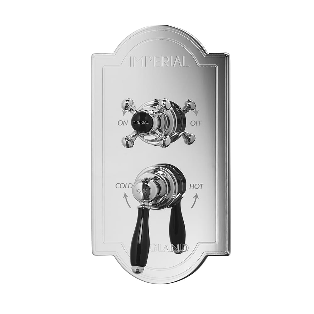 Concealed Oxford Thermostatic Dual Control Valve with Westminster and Radcliffe Black Lever Controls chrome