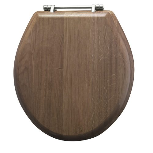 Drift solid wood toilet seat with standard hinge