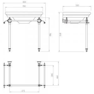Etoile Hardwick Glass Leg Basin Stand
