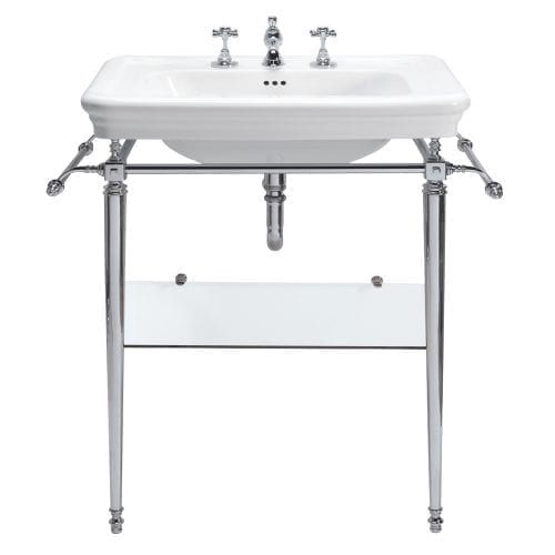 Etoile Large basin stand with glass shelf chrome legs