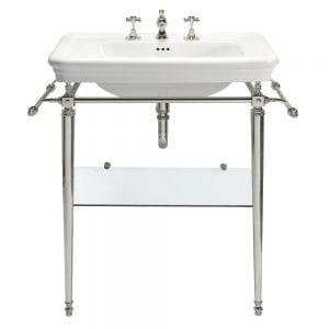 Etoile Large basin stand with glass shelf Polished nickel