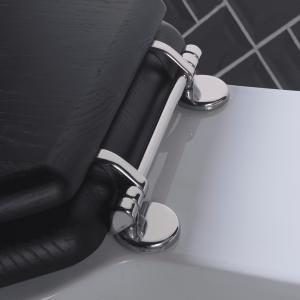 Etoile solid wood toilet seat - with standard hinge polished nickel