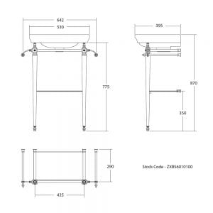 Firenze cloak basin stand with shelf tech specs