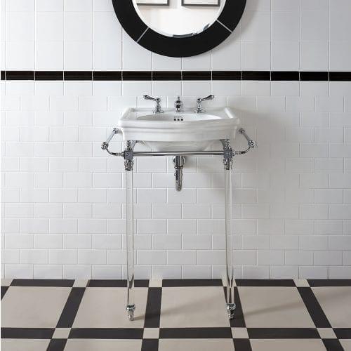 Firenze Harwick cloak basin stand with glass legs tech spec