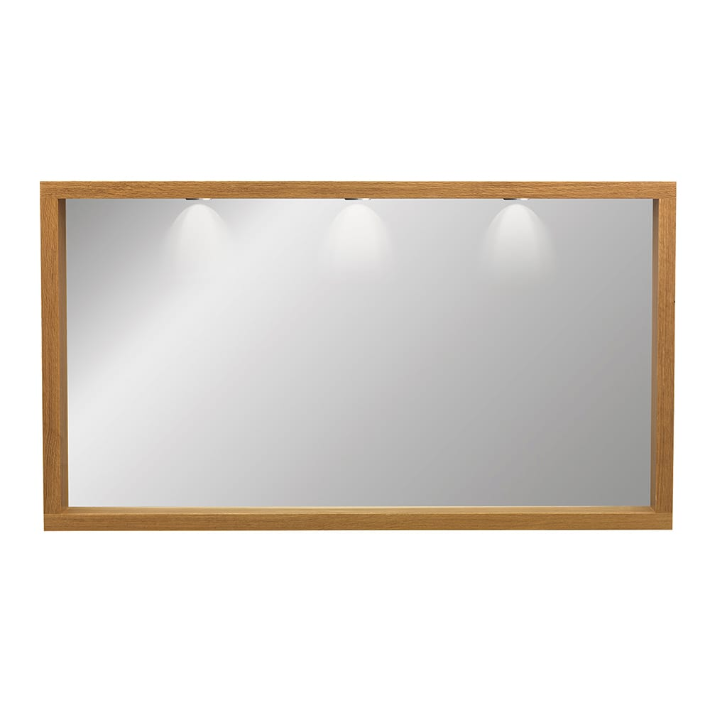 Large Box Mirror with Lights oak