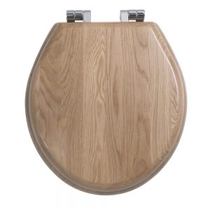 Oval solid wood toilet seat with soft-close hinge