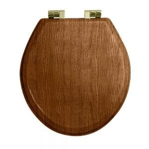 Oval painted dark oak toilet seat with soft-close hinge Antique Gold