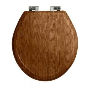 Oval painted dark oak toilet seat with soft-close hinge Polished Nickel