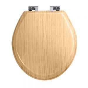 Oval painted light oak toilet seat with soft-close hinge Chrome Polish