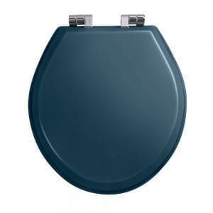 Oval painted moseley blue toilet seat with soft-close hinge Chrome