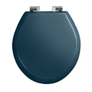 Oval painted moseley blue toilet seat with soft-close hinge Polished Nickel