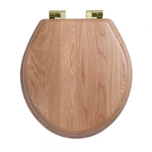 Oval painted natural oak toilet seat with soft-close hinge Antique Gold