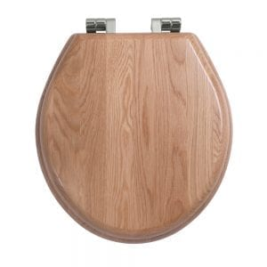 Oval painted natural oak toilet seat with soft-close hinge Polished Nickel