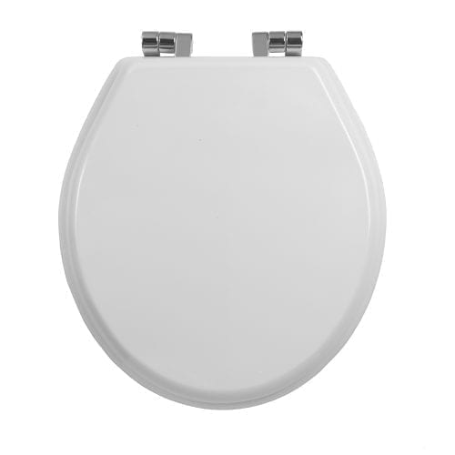 Oval painted white smooth toilet seat with soft-close hinge Chrome