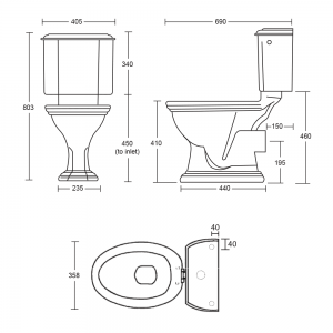 Oxford Close Coupled Cistern & Fittings