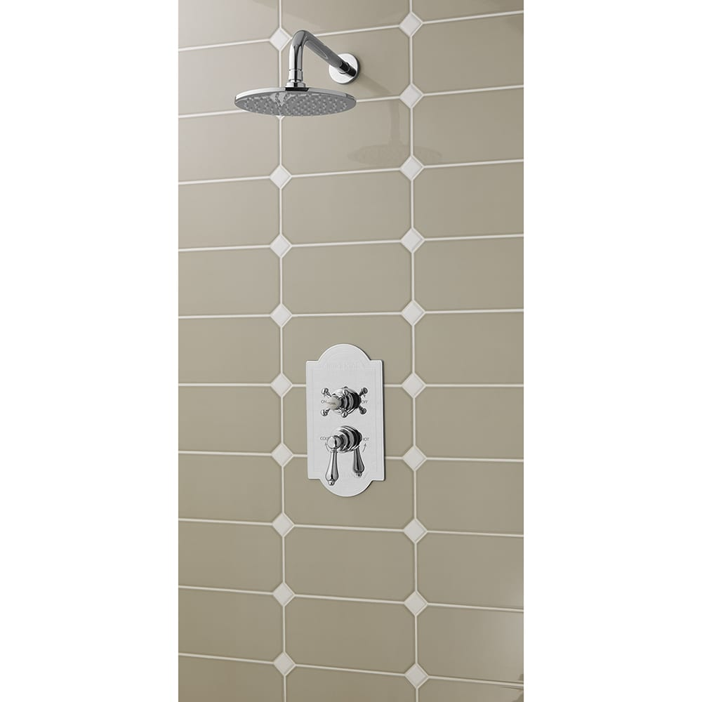 Concealed Oxford Thermostatic Dual Control Valve with Westminster White and Regent Controls and 225mm Amena Slim Shower Head chrome