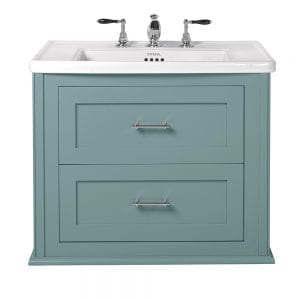Radcliffe Thurlestone wall hung 2 drawer vanity unit henley blue