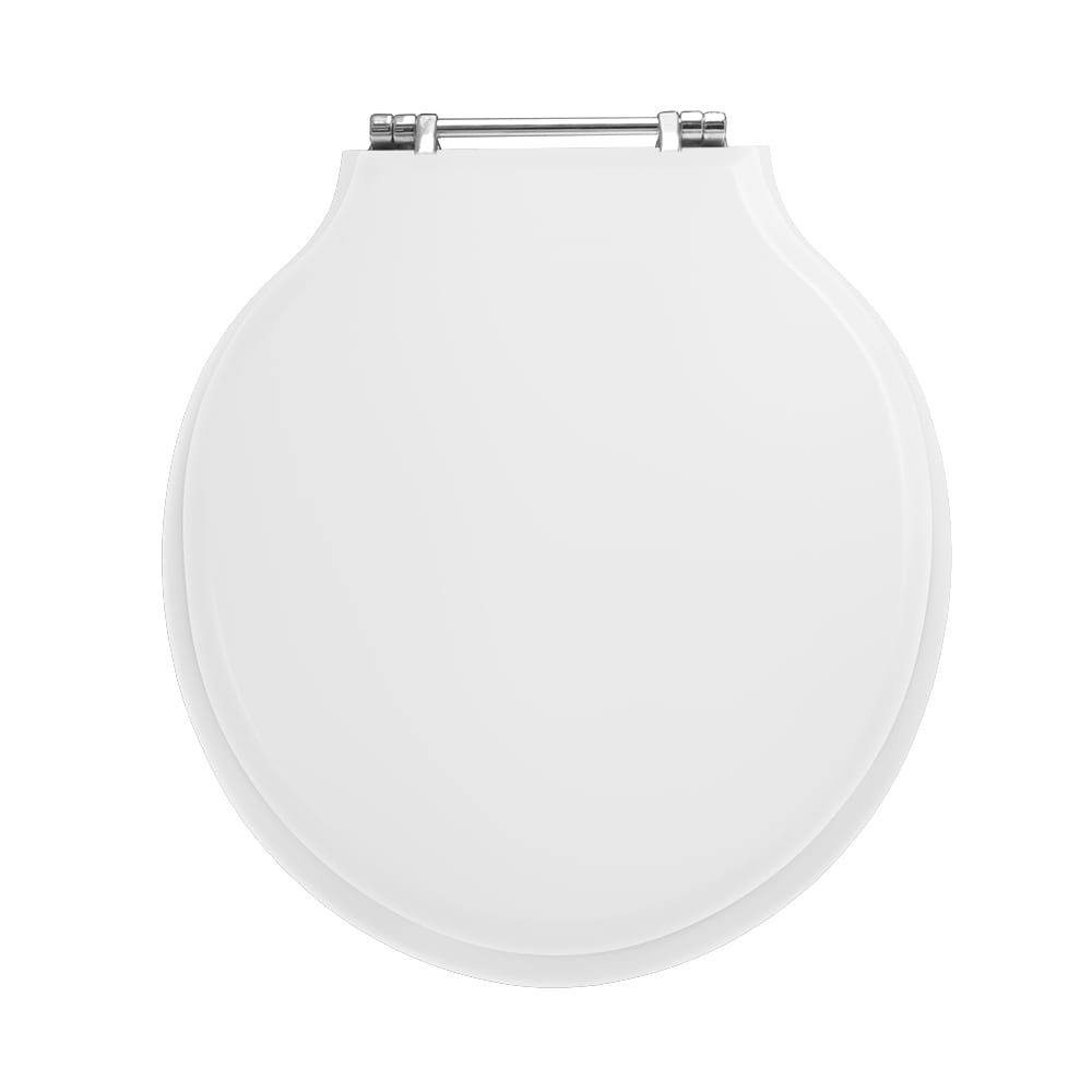 Etoile solid wood toilet seat - with standard hinge smooth white, chrome hinge