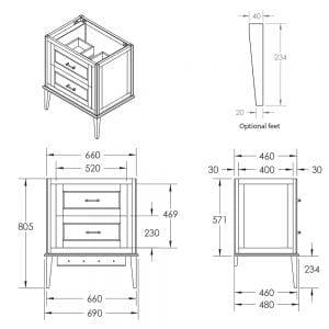 Radcliffe Thurlestone wall hung 2 drawer vanity unit tech specs