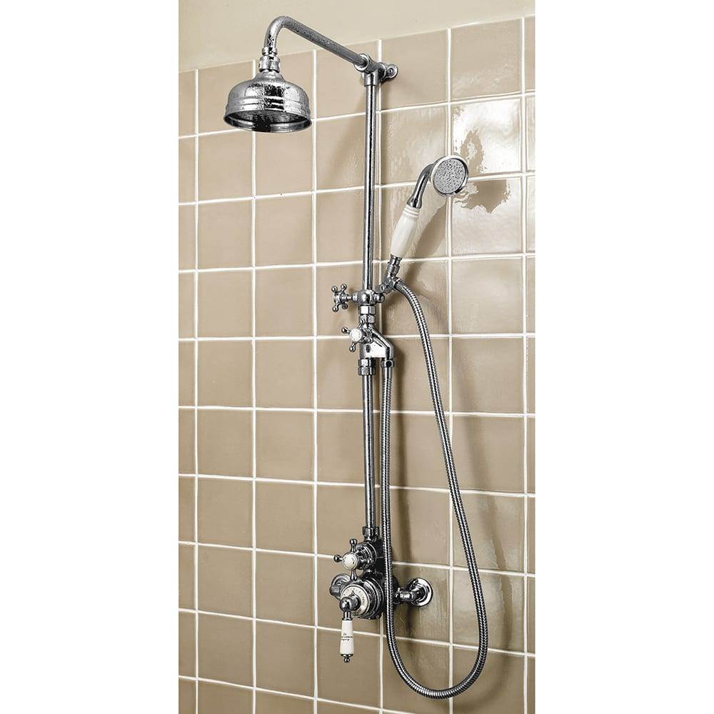 Victorian Exposed Shower Valve with Traditional Shower Head, Rigid Riser, Victorian Shower Tidy Soap Rack & White Handset