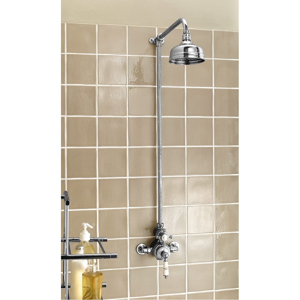 Victorian Exposed Shower Valve & Rigid Riser with Traditional Rose Shower Head with White Lever Controls