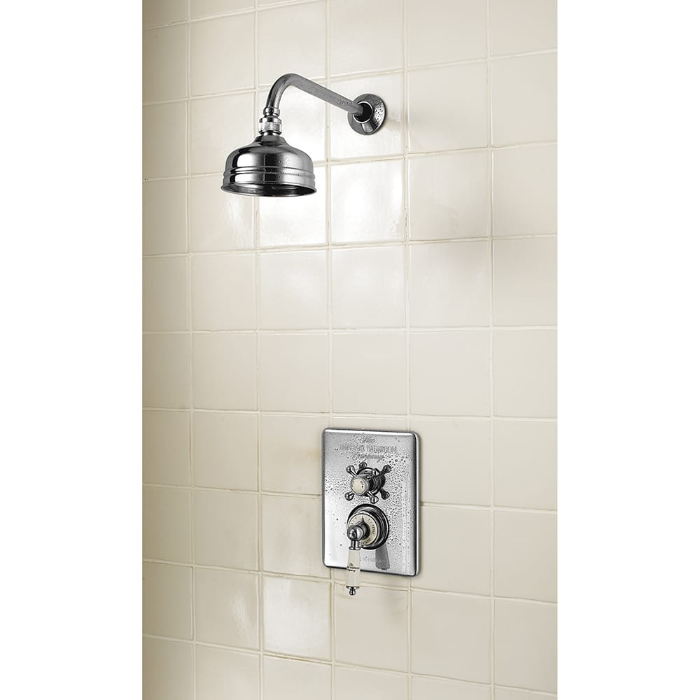 Victorian Concealed Shower Valve with White Controls with 150mm Dart Traditional Shower Head