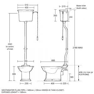 Westminster High Level Cistern & Fittings tech specs