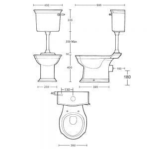 Westminster Low Level Cistern & Fittings tech specs