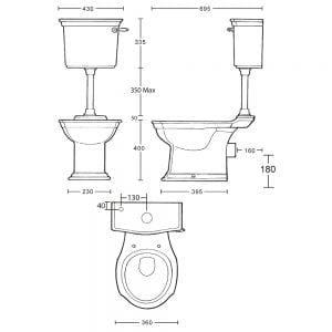 Westminster pan & low level cistern with ceramic or brass plate tech spec