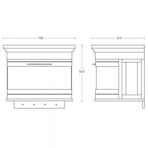 Carlyon Roseland 2 Drawer Wall Hung Vanity Unit