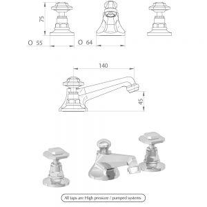 Niveau 3-hole basin mixer kit