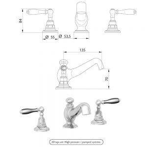 Notte 3-hole basin mixer kit