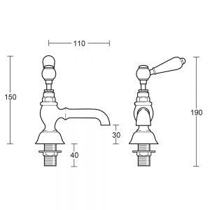 "Regent 1/2"" basin pillar taps with brass lever"