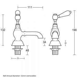 """Regent 3/4"""" bath pillar taps with white ceramic lever"""