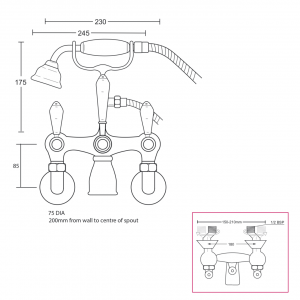 """Regent Bath Shower Mixer With Brass Lever, Complete With Shower Kit, Wall Mounted 1/2"""""""
