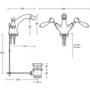 Regent Monobloc bidet mixer with brass lever complete with pop up waste