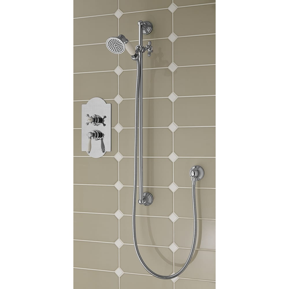 Concealed Oxford Thermostatic Dual Control Valve with Westminster and Radcliffe Lever Controls and a Traditional Riser Kit chrome