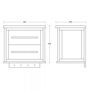 Radcliffe Attica Wall Hung Vanity Unit with Red Glass Drawer Fronts